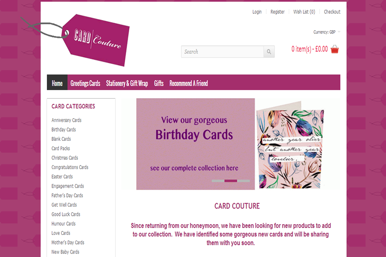 Loja Virtual Card Couture UK